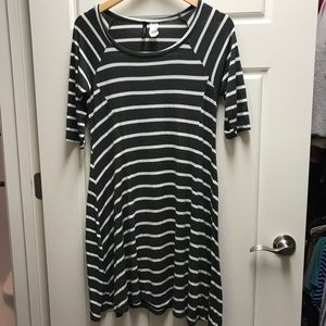 New Directions Olive/Cream Striped Dress